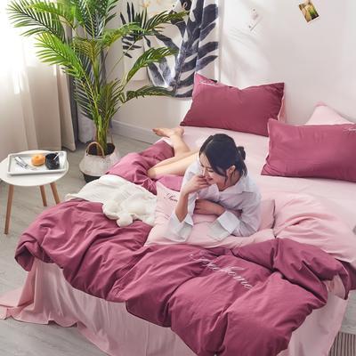 2020新款全棉水洗棉绣花四件套 1.2m床单款三件套 珊瑚红粉