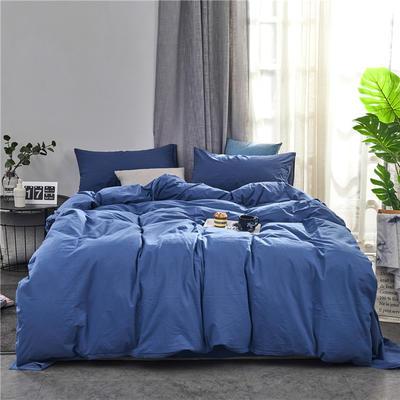 新品-全棉水洗棉纯色单被套 150*200cm 深蓝