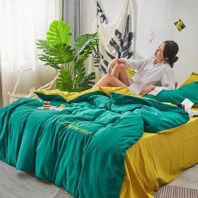 2020新款全棉水洗棉刺绣-单被套 150x200cm 翠绿姜黄