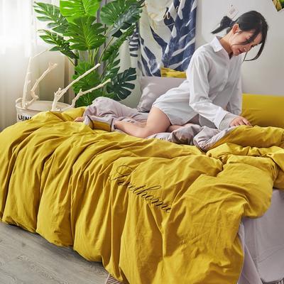 2020新款全棉水洗棉刺绣-单被套 150x200cm 姜黄浅灰