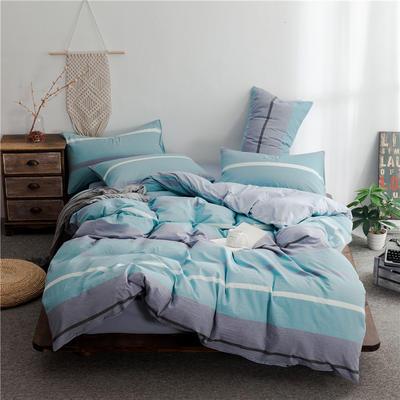 2020新款全棉色织水洗棉三四件套 1.2m床单款三件套 蓝灰条