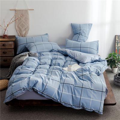 2020新款全棉色织水洗棉三四件套 1.2m床单款三件套 遇见蓝