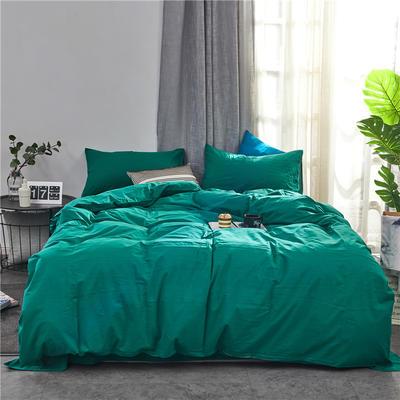 2020新款全棉色织水洗棉三四件套 1.2m床单款三件套 翠绿