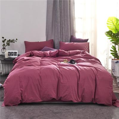 2020新款全棉色织水洗棉三四件套 1.2m床单款三件套 珊瑚红