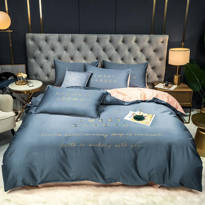 2020新款新品40全棉贡缎刺绣四件套 1.2m床单款三件套 宾利蓝+玫瑰粉