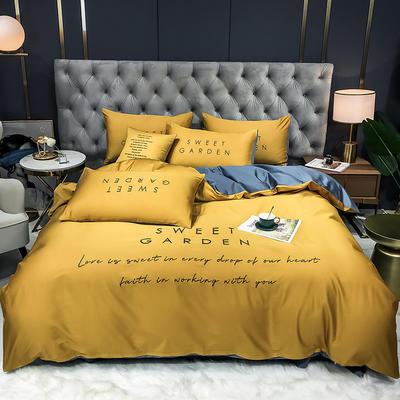 2020新款新品40全棉贡缎刺绣四件套 1.2m床单款三件套 姜黄+宾利蓝