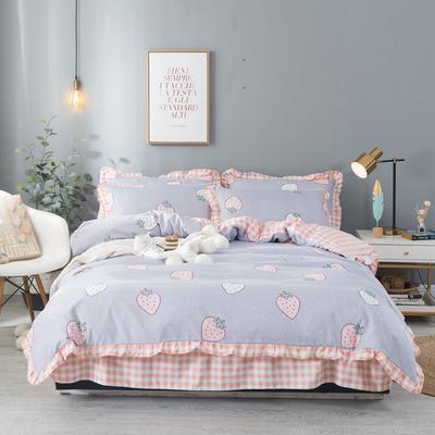 2020新款网红韩版加厚磨毛床单款床裙款四件套 1.2m床单款三件套 草莓圣代灰
