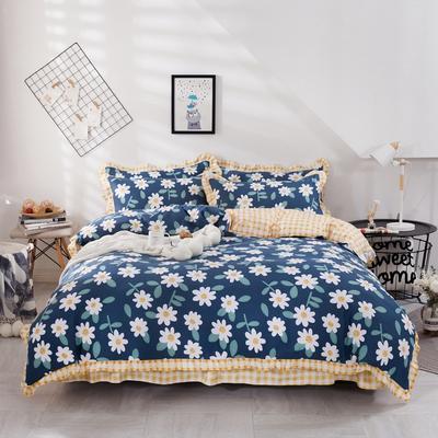 2020新款网红韩版加厚磨毛床单款床裙款四件套 1.2m床单款三件套 闻香蓝