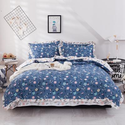 2020新款网红韩版加厚磨毛床单款床裙款四件套 1.2m床单款三件套 一丝纯情蓝