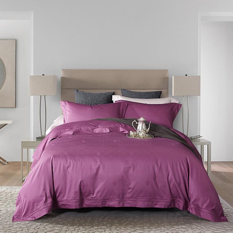 2018新款-A版全棉120支双股滚绳提花B版60长绒棉四件套 2.0m(6.6英尺)床 魅力女王紫