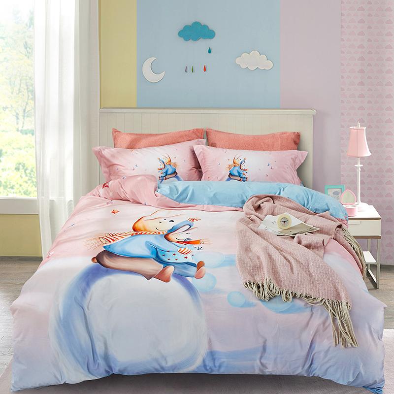 特丽绒水晶绒法莱绒宝宝绒数码绒保暖套件 2.0m(6.6英尺)床 小兔兔-粉