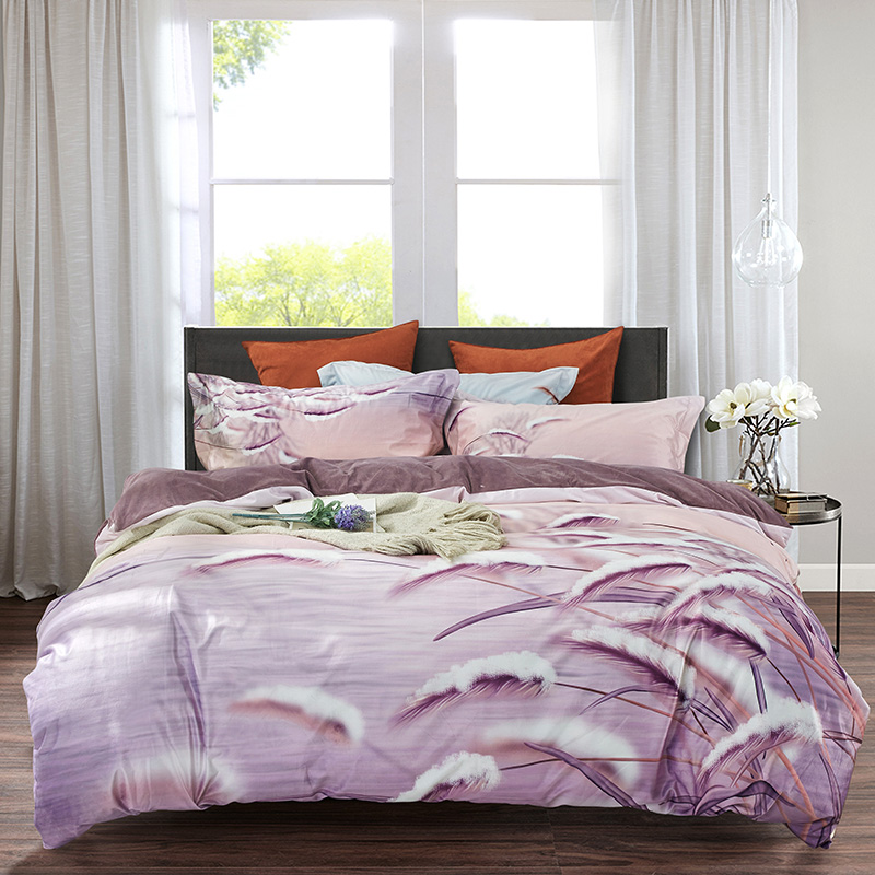 特丽绒水晶绒法莱绒宝宝绒数码绒保暖套件 2.0m(6.6英尺)床 雅风-紫