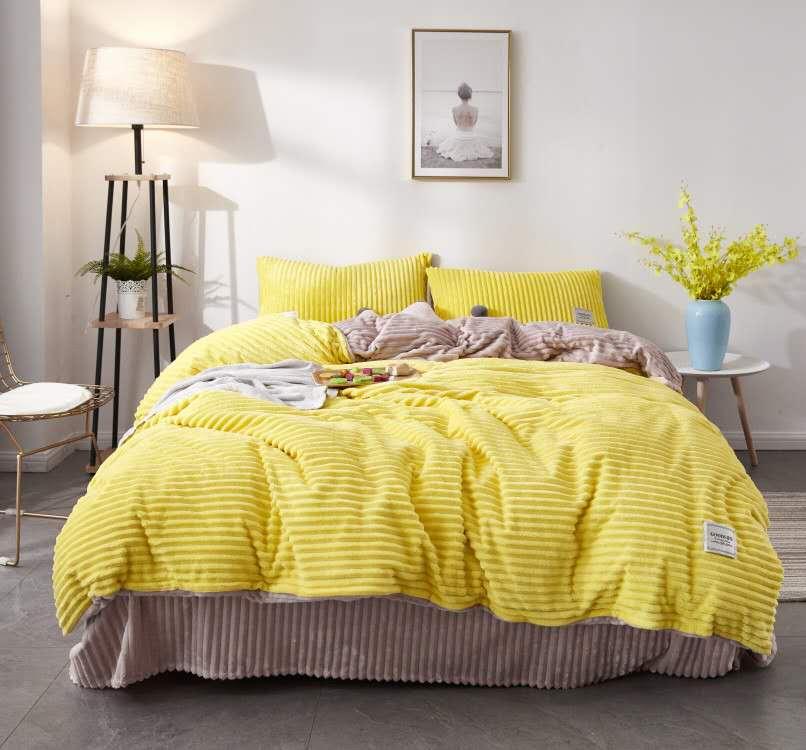 珂珑家居呼吸绒魔法绒条条绒水晶绒保暖套件 1.8m(6英尺)床 柠檬黄