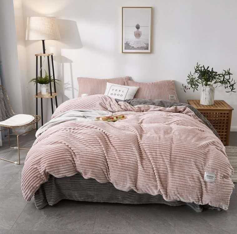 珂珑家居呼吸绒魔法绒条条绒水晶绒保暖套件 1.8m(6英尺)床 茱萸粉