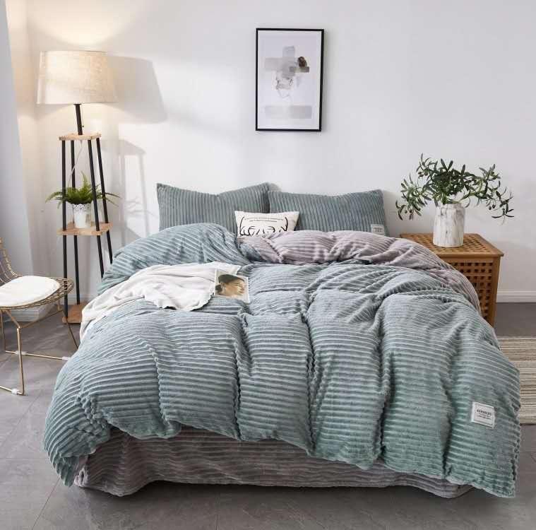 珂珑家居呼吸绒魔法绒条条绒水晶绒保暖套件 1.5m(5英尺)床 魅惑紫