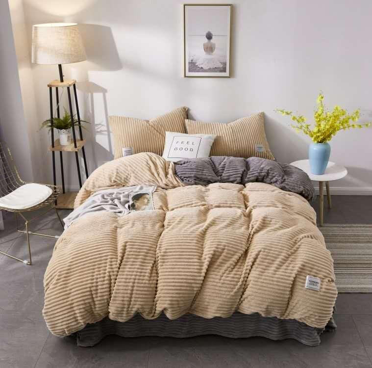 珂珑家居呼吸绒魔法绒条条绒水晶绒保暖套件 1.8m(6英尺)床 卡其色