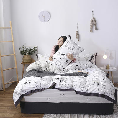 2019新款轻奢工艺宽边全棉四件套 1.2m(4英尺)床 牛奶