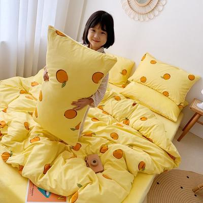 2019新款棉加絨小女孩圖(13372)四件套 1.2m床單款三件套 橙之戀