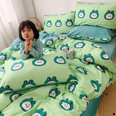 2019新款棉加绒小女孩图(13372)四件套 1.2m床单款三件套 小青蛙