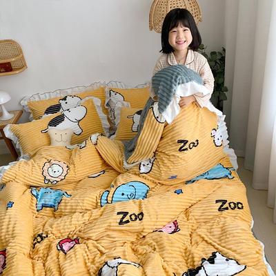 2019新款韓版魔法絨四件套(小女孩圖) 1.2m床單款三件套 開心樂園