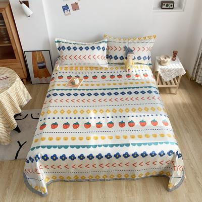 2020新款少女冰絲涼席床單三件套 230×250cm三件套 夏日草莓