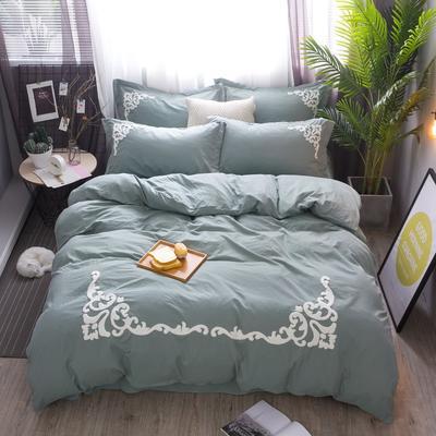 2018竹纤维毛巾绣四件套 1.8m(6英尺)床 芭莎浅绿