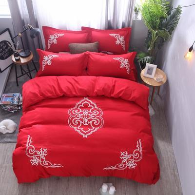 2018竹纤维毛巾绣四件套 1.8m(6英尺)床 贵族世家-大红