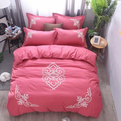 2018竹纤维毛巾绣四件套 1.8m(6英尺)床 贵族世家-豆沙