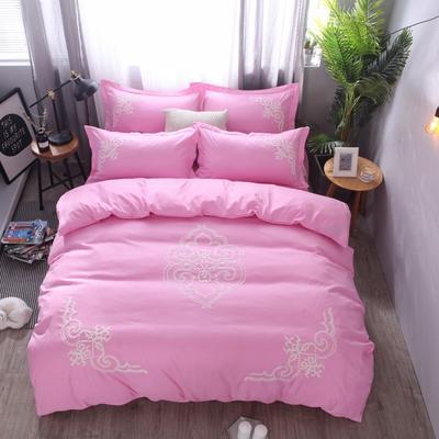 2018竹纤维毛巾绣四件套 1.8m(6英尺)床 贵族世家-浅粉