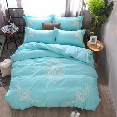 2018竹纤维毛巾绣四件套 1.8m(6英尺)床 贵族世家-浅绿