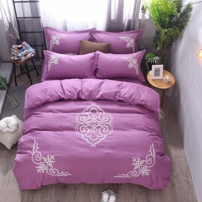 2018竹纤维毛巾绣四件套 1.8m(6英尺)床 贵族世家-浅紫