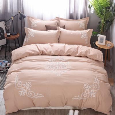 2018竹纤维毛巾绣四件套 1.8m(6英尺)床 贵族世家-驼色