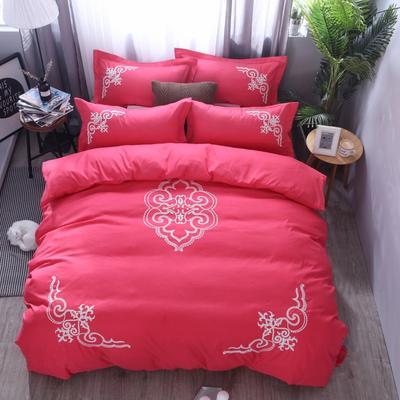 2018竹纤维毛巾绣四件套 1.8m(6英尺)床 贵族世家-砖红