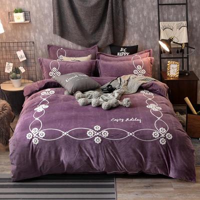2018新款水晶绒毛巾绣四件套--安纳西 1.5m(5英尺)床 6丁香紫