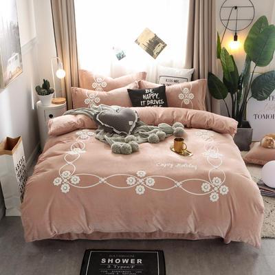 2018新款水晶绒毛巾绣四件套--安纳西 1.8m(6英尺)床 10浅咖