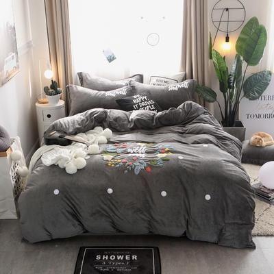 2018新品-水晶绒毛巾绣四件套--花团锦簇 1.5m(5英尺)床 1深灰