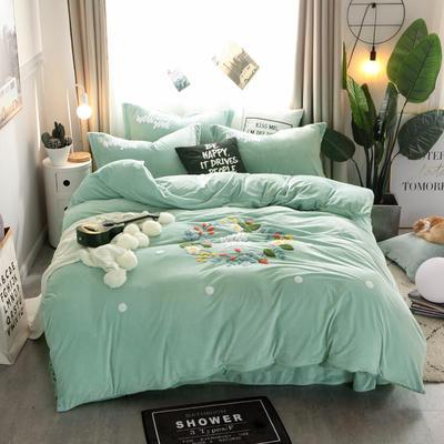 2018新品-水晶绒毛巾绣四件套--花团锦簇 1.8m(6英尺)床 4浅绿