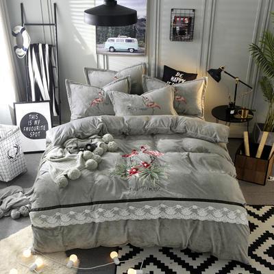 2018新品 水晶绒毛巾绣四件套--火烈鸟 1.5m(5英尺)床 2灰色
