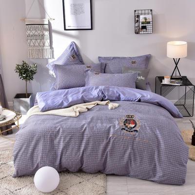 2019铂金棉四件套 1.8m(6英尺)床 洛卡-灰紫