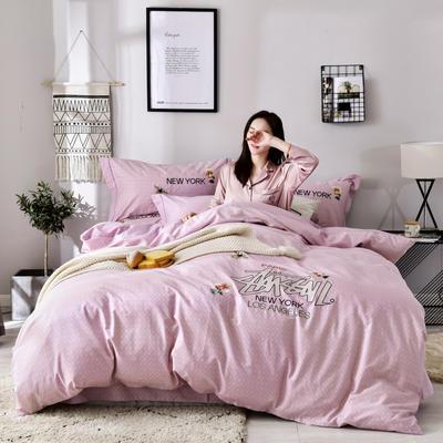 2019铂金棉四件套 1.8m(6英尺)床 奢享生活-粉紫