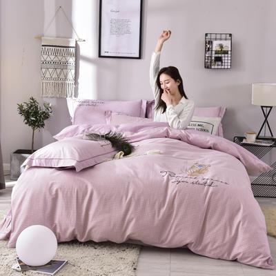 2019铂金棉四件套 1.8m(6英尺)床 羽翼-粉色