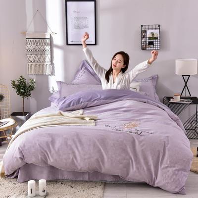 2019铂金棉四件套 1.8m(6英尺)床 羽翼-紫色