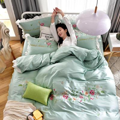 2019新款60S长绒棉绣花款四件套 1.5m(5英尺)床 繁花似锦-薄荷绿