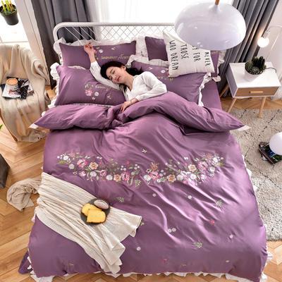 2019新款60S长绒棉绣花款四件套 1.5m(5英尺)床 繁花似锦-丁香紫