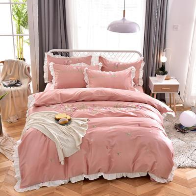 2019新款60S长绒棉绣花款四件套 1.8m(6英尺)床 繁花似锦-胭脂粉