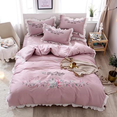 2019新款60S长绒棉绣花款四件套 1.8m(6英尺)床 花香袭人-新贵紫