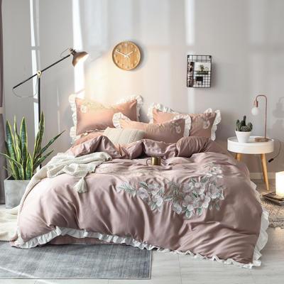 2019新款60S长绒棉绣花款四件套 1.5m(5英尺)床 清新雅致-赤豆沙