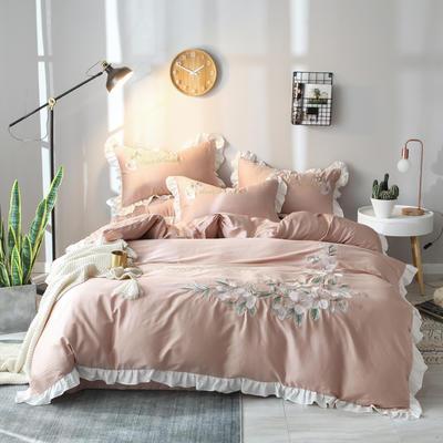 2019新款60S长绒棉绣花款四件套 1.5m(5英尺)床 清新雅致-鎏金红