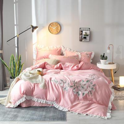 2019新款60S长绒棉绣花款四件套 1.8m(6英尺)床 清新雅致-俏丽粉