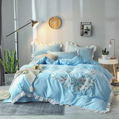 2019新款60S长绒棉绣花款四件套 1.8m(6英尺)床 清新雅致-天空蓝